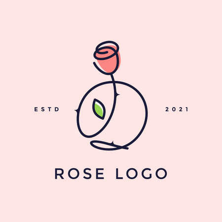 Beauty and charming simple illustration logo design Initial O combine with Rose flower.