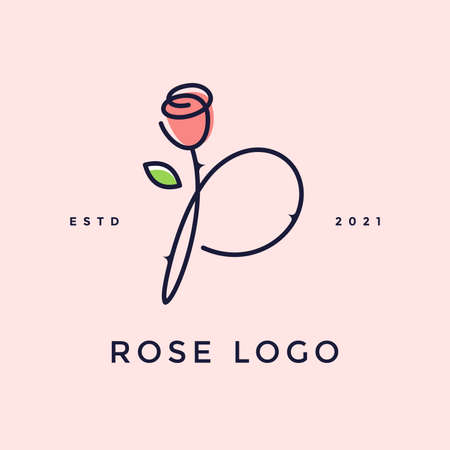 Beauty and charming simple illustration logo design Initial P combine with Rose flower.