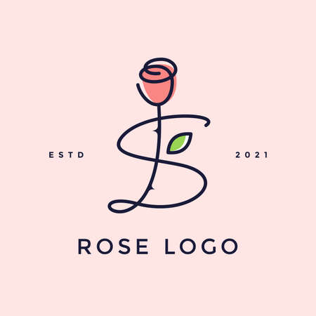 Beauty and charming simple illustration logo design Initial S combine with Rose flower.
