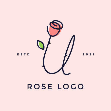 Beauty and charming simple illustration logo design Initial U combine with Rose flower.