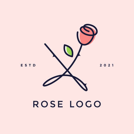 Beauty and charming simple illustration logo design Initial X combine with Rose flower.