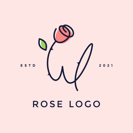 Beauty and charming simple illustration logo design Initial W combine with Rose flower. Ilustracja