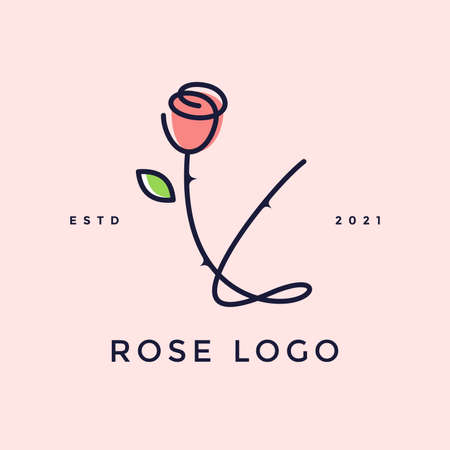 Beauty and charming simple illustration logo design Initial Y combine with Rose flower.