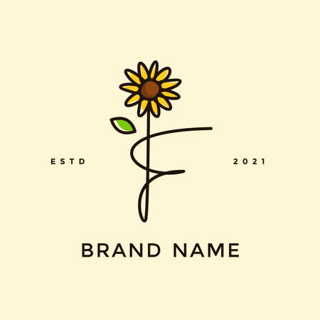 Beauty and charming simple illustration logo design Initial F combine with Sun flower. Ilustracja