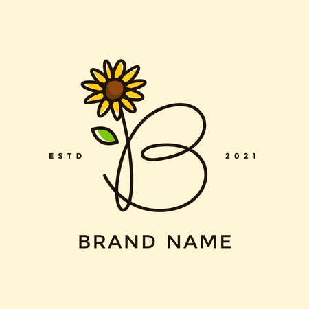 Beauty and charming simple illustration logo design Initial B combine with Sun flower.