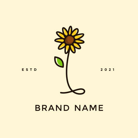 Beauty and charming simple illustration logo design Initial I combine with Sun flower.