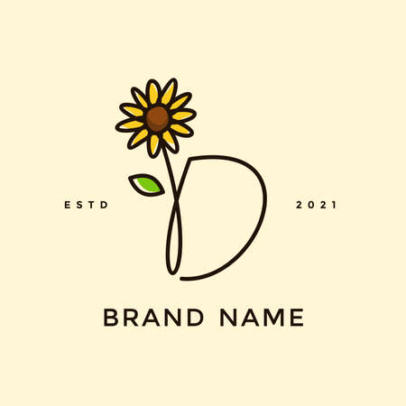 Beauty and charming simple illustration logo design Initial D combine with Sun flower. Ilustracja