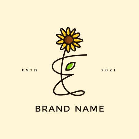 Beauty and charming simple illustration logo design Initial E combine with Sun flower. Ilustracja