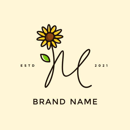 Beauty and charming simple illustration logo design Initial M combine with Sun flower. Ilustracja