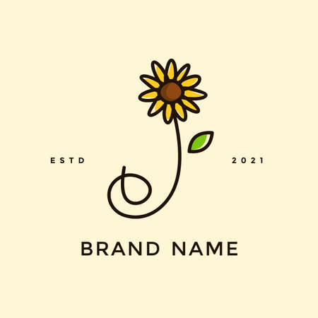 Beauty and charming simple illustration logo design Initial J combine with Sun flower.