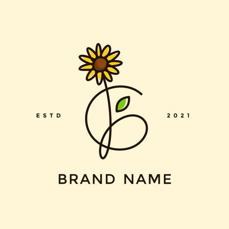 Beauty and charming simple illustration logo design Initial G combine with Sun flower. Ilustracja