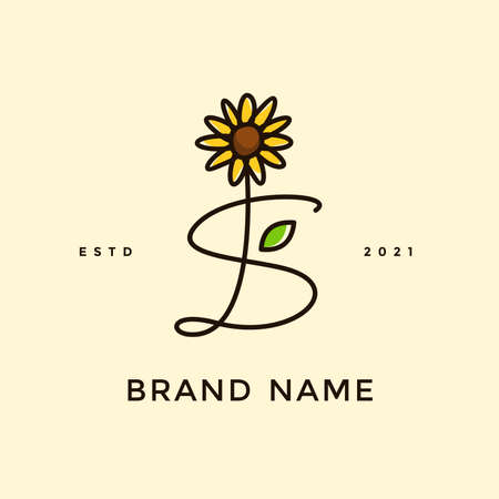 Beauty and charming simple illustration logo design Initial S combine with Sun flower.