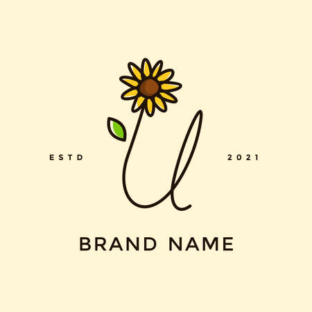 Beauty and charming simple illustration logo design Initial U combine with Sun flower.
