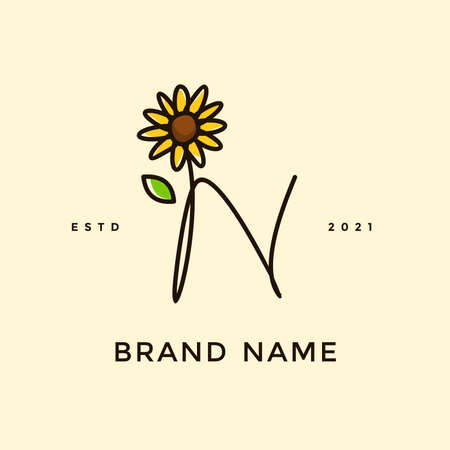 Beauty and charming simple illustration logo design Initial N combine with Sun flower.