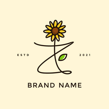 Beauty and charming simple illustration logo design Initial Z combine with Sun flower.