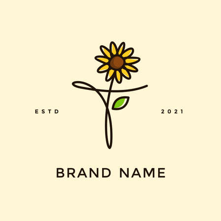 Beauty and charming simple illustration logo design Initial A combine with Sun flower. Ilustracja