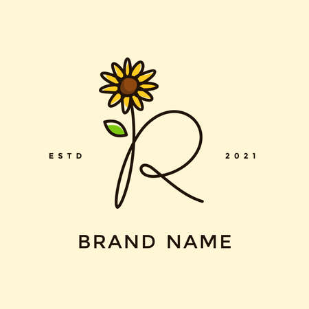 Beauty and charming simple illustration logo design Initial R combine with Sun flower.