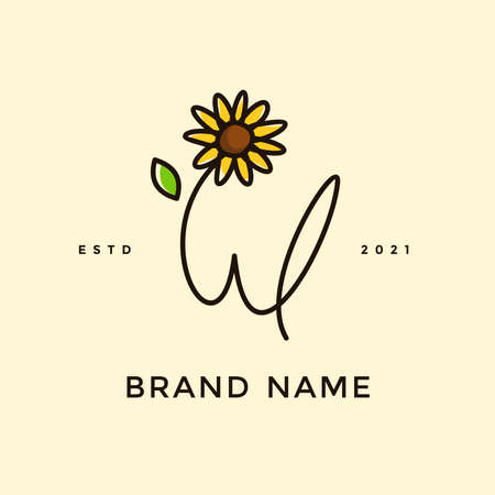 Beauty and charming simple illustration logo design Initial W combine with Sun flower.