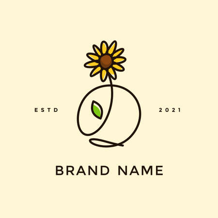 Beauty and charming simple illustration logo design Initial O combine with Sun flower.