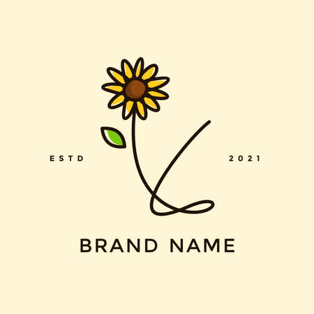 Beauty and charming simple illustration logo design Initial Y combine with Sun flower. Ilustracja