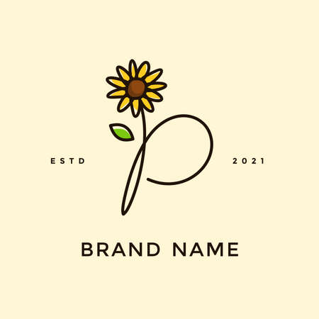 Beauty and charming simple illustration logo design Initial P combine with Sun flower. Ilustracja