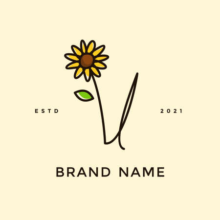 Beauty and charming simple illustration logo design Initial V combine with Sun flower.
