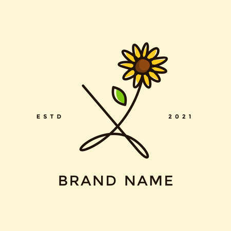 Beauty and charming simple illustration logo design Initial X combine with Sun flower.
