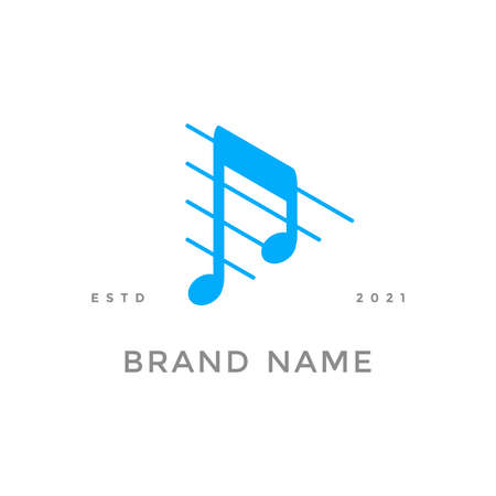 Simple and clean illustration logo design for music