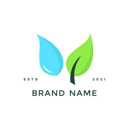 Clean and charming illustration logo design water and leaf.
