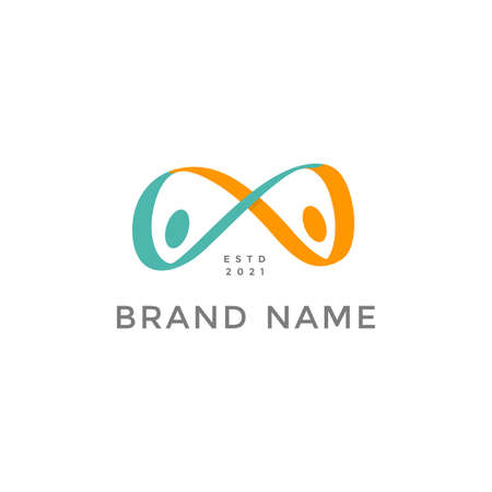 Simple and Colorful illustration logo design people infinity.