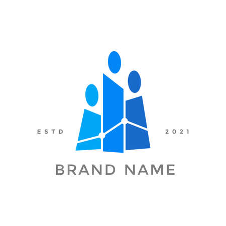 Simple and Colorful logo design people office.