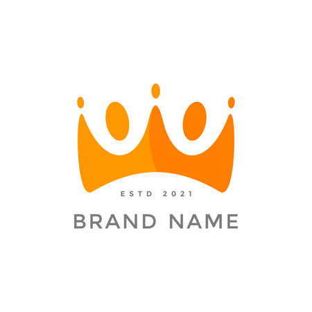 Simple and Colorful logo design people crown.