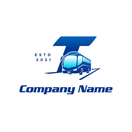 Modern and Stylish logo design initial T combine with Bus.