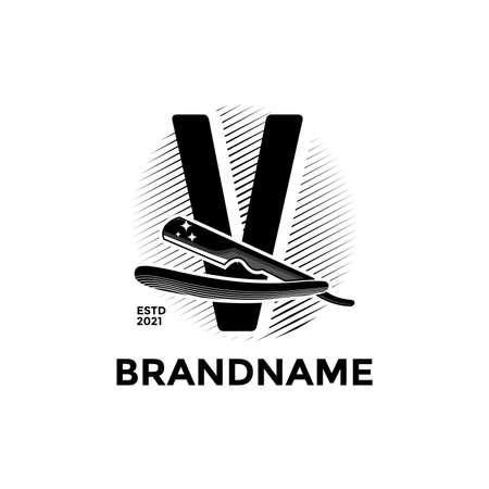 Vintage illustration design for Barbershop logo, logo created combining initial V and razor. Logó