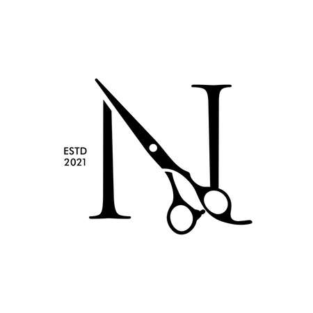 Luxury and Elegant illustration logo design Initial N Scissors for Barbershop and Salon. Logo can work as well in a small size and black white color.
