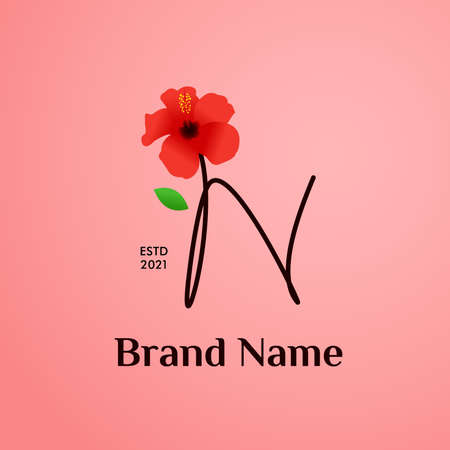Beauty and charming simple illustration logo design Initial N combine with Shoe flower. Logo