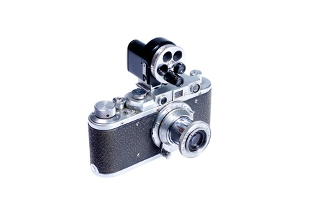 viewfinder vintage: old vintage camera with additional viewfinder isolated on white background