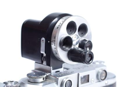 viewfinder vintage: old vintage additional viewfinder isolated on white background