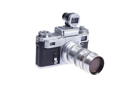 viewfinder: fotocamera a telemetro con mirino aggiuntivo isolato su sfondo bianco Archivio Fotografico