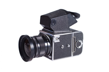 viewfinder vintage: Middle-format camera isolated on white