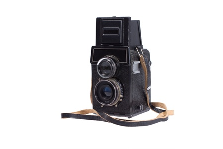 rangefinder: Middle-format camera isolated on white