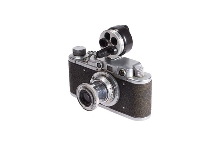 additional: rare vintage rangefinder camera with additional viewfinder isolated on white background