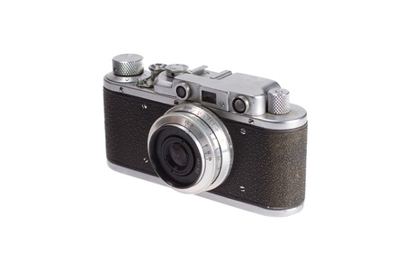 old retro vintage rangefinder camera isolated on white background
