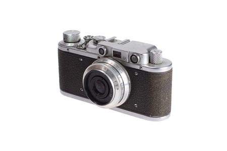 old retro vintage rangefinder camera isolated on white background