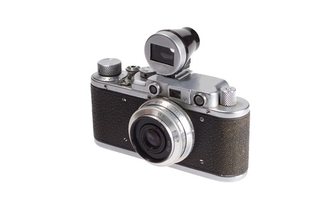 rangefinder old film camera with additional viewfinder isolated on white background photo