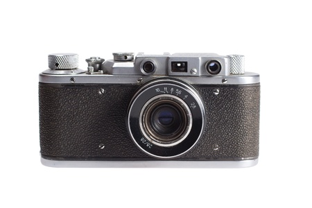 retro vintage rangefinder camera isolated on white background photo