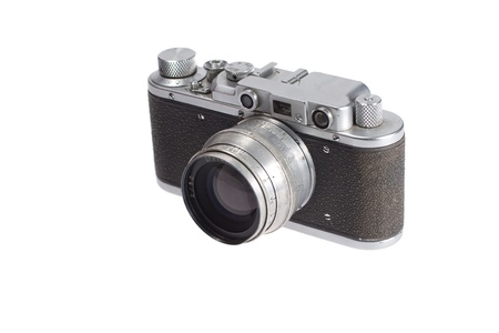old vintage rangefinder camera isolated on white background photo