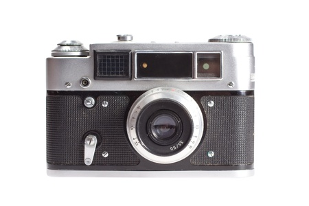 old vintage rangefinder camera isolated on white background Standard-Bild