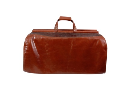 sac: leather sac voyage  isolated on a white background