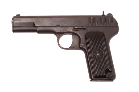 Soviet handgun TT (Tula,Tokarev) isolated on white background